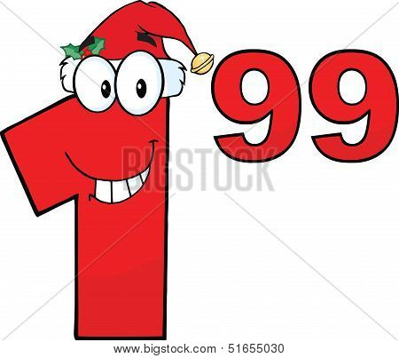 Price Tag Red Number 1.99 With Santa Hat Cartoon Character