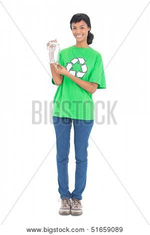 Happy black haired ecologist holding a jar on white background