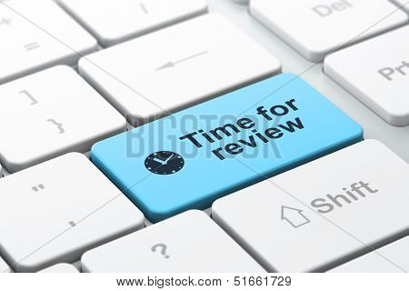 Timeline concept: Clock and Time for Review on computer keyboard