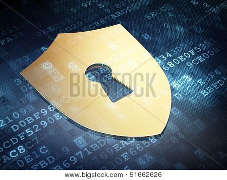 Protection concept: Gold Shield With Keyhole on digital backgrou