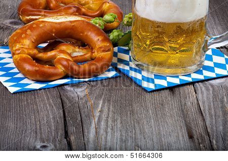 Glass Of Beer And Pretzels