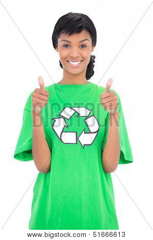 Cheerful black haired ecologist giving thumbs up on white background