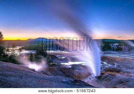 Norris Geyser Basin After Sunset