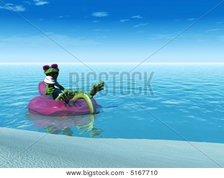 Cool Cartoon Gecko Eating Ice Cream While Floating On A Bathing Ring.