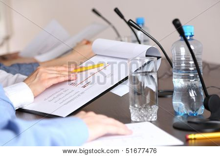 Conference meeting with microphones