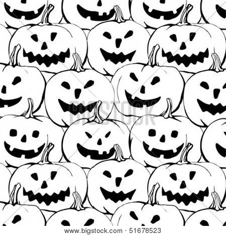 halloween seamless black and white background with pumpkin