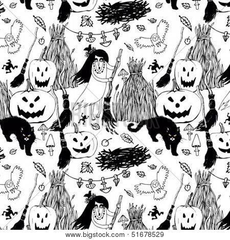 halloween seamless black and white background with witches, pumpkins and cats