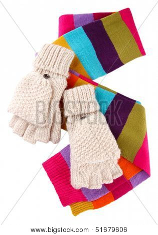 Wool fingerless gloves and multicolor scarf, isolated on white