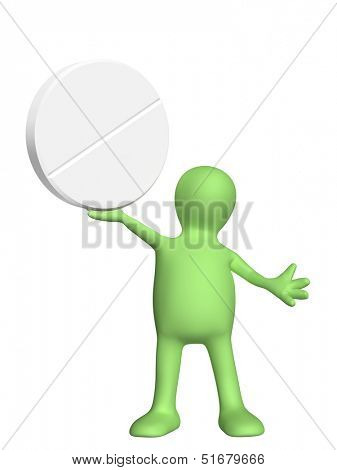 3d puppet with pill. Isolated on white background