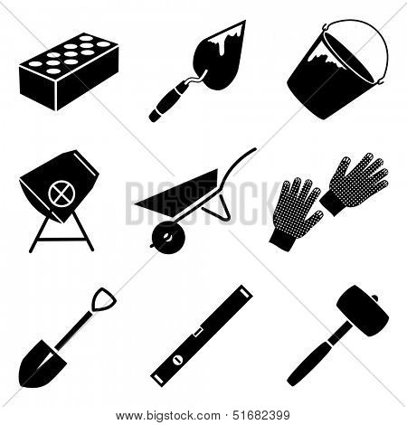 Monochrome vector icon set of building implements