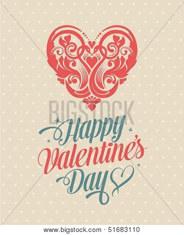 Happy Valentine's Day Greeting Card. Calligraphic Design Elements. Vector Illustration.