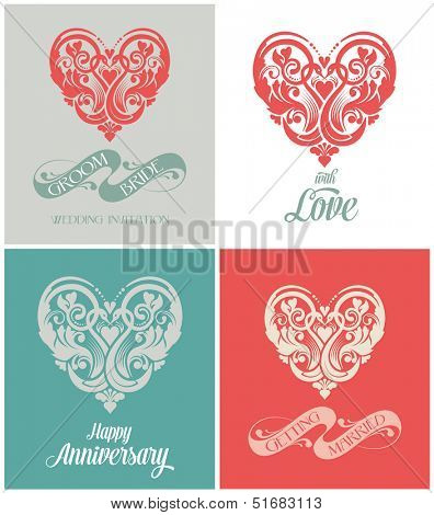 Wedding invitation card. Getting married calligraphy vector design