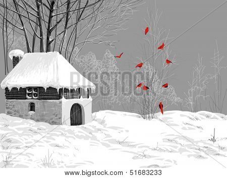 Winter snow landscape, mountain hut and Christmas tree in the woods