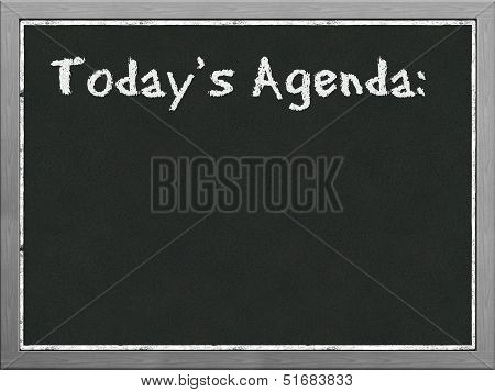 Black Board With Word Today's Agenda