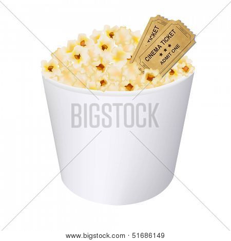 Popcorn In White Cardboard Box With Gradient Mesh, Vector Illustration