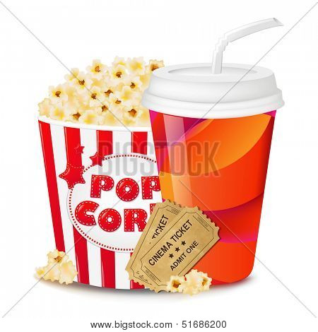 Popcorn In Cardboard Box With Tickets Cinema And Paper Glass With Gradient Mesh, Vector Illustration