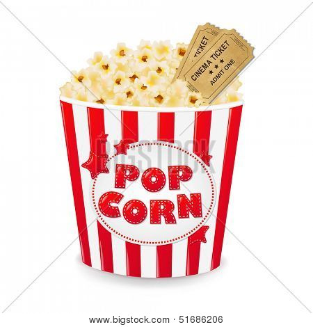 Popcorn In Cardboard Box With Tickets Cinema With Gradient Mesh, Vector Illustration