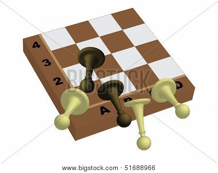 Pawns Falling From Chessboard