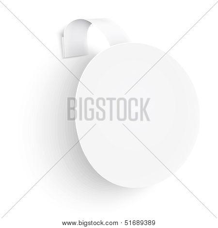 White Round Wobbler On White Background.