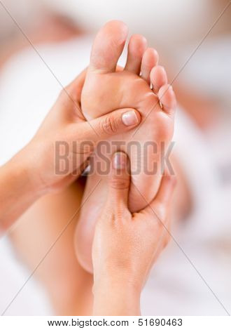 Close up of a foot massage at the spa