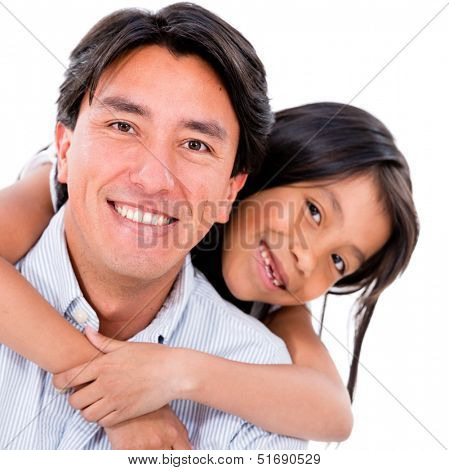 Loving father and daughter smiling - isolated over white background