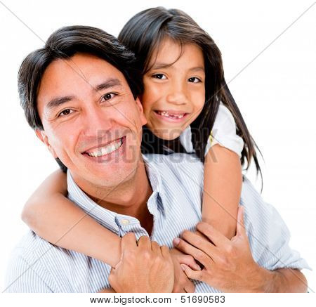 Loving father and daughter looking happy - isolated over white