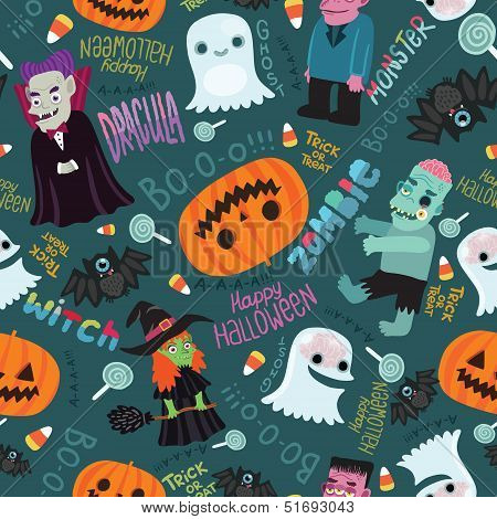 Happy Halloween seamless pattern.