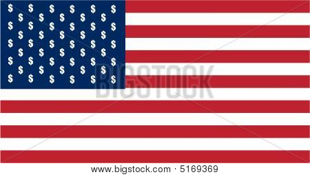 Usa Flag With Dollar Signs And Stripes
