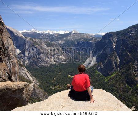Hiker Overlooking Yosemite View