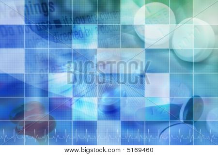Blue Pharmecutical Pill Background With Grid