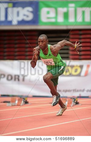LINZ, AUSTRIA - JANUARY 31 Tobi Ogunmola (#355 Nigeria) competes in the men's 60m event on January 31, 2013 in Linz, Austria.