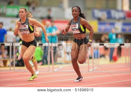 LINZ, AUSTRIA - JANUARY 31 Loreal Smith (#161 USA) places 3rd in women's 60m hurdles event on January 31, 2013 in Linz, Austria.