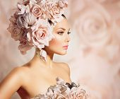 stock photo of white lily  - Fashion Beauty Model Girl with Flowers in her Hair - JPG