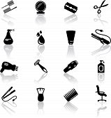 stock photo of barber razor  - Set of black hail salon icons - JPG