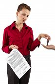 picture of deed  - woman holding a generic deed of sale contract - JPG