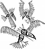 picture of tlingit  - Three Ravens depicted in the style of Northwest Coast Native cultures - JPG