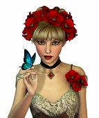 foto of chokers  - 3d Computer Graphics of a Girl with red Poppies in her Hair - JPG