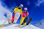 stock photo of family ski vacation  - Ski - JPG