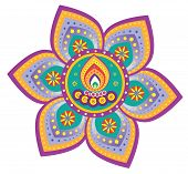 pic of kolam  - Indian new year celebrating oil lamp illustration design - JPG