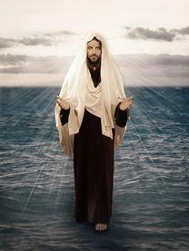 foto of verbs  - Jesus Walks on Water with the light behind him - JPG