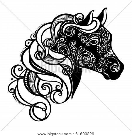 Decorative Horse with Patterned Mane