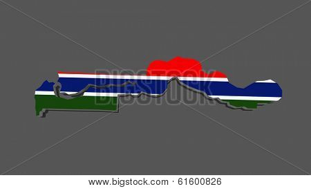 Map of Gambia. 3d