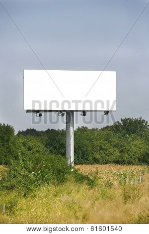 Empty Billboard On Background Of Sunset Sky