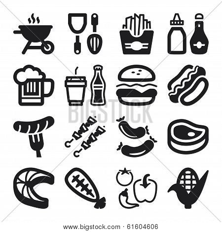 Barbecue Flat Icons. Black