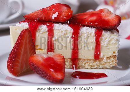 Dessert Cheesecake With Fresh Strawberries Closeup. Horizontal