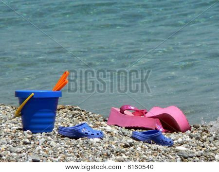Bucket And Spade With Flipflops
