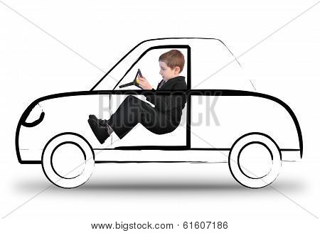 Work Boy Driving Invisible Car On White
