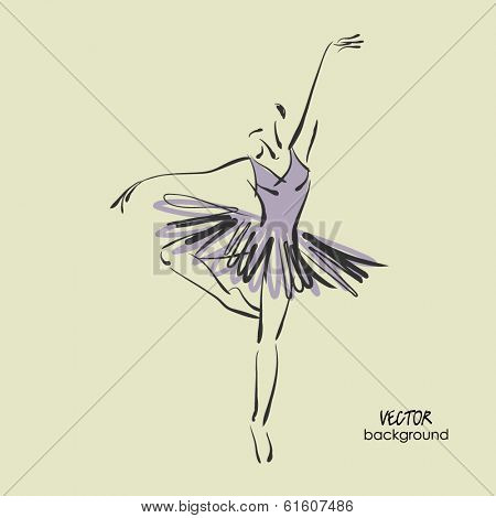 art sketched beautiful young ballerina with tutu in ballet dance