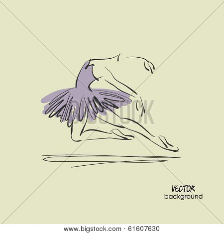 art sketched beautiful young ballerina with tutu in ballet pose