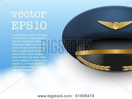 Aviator Peaked cap of the pilot. Vector.